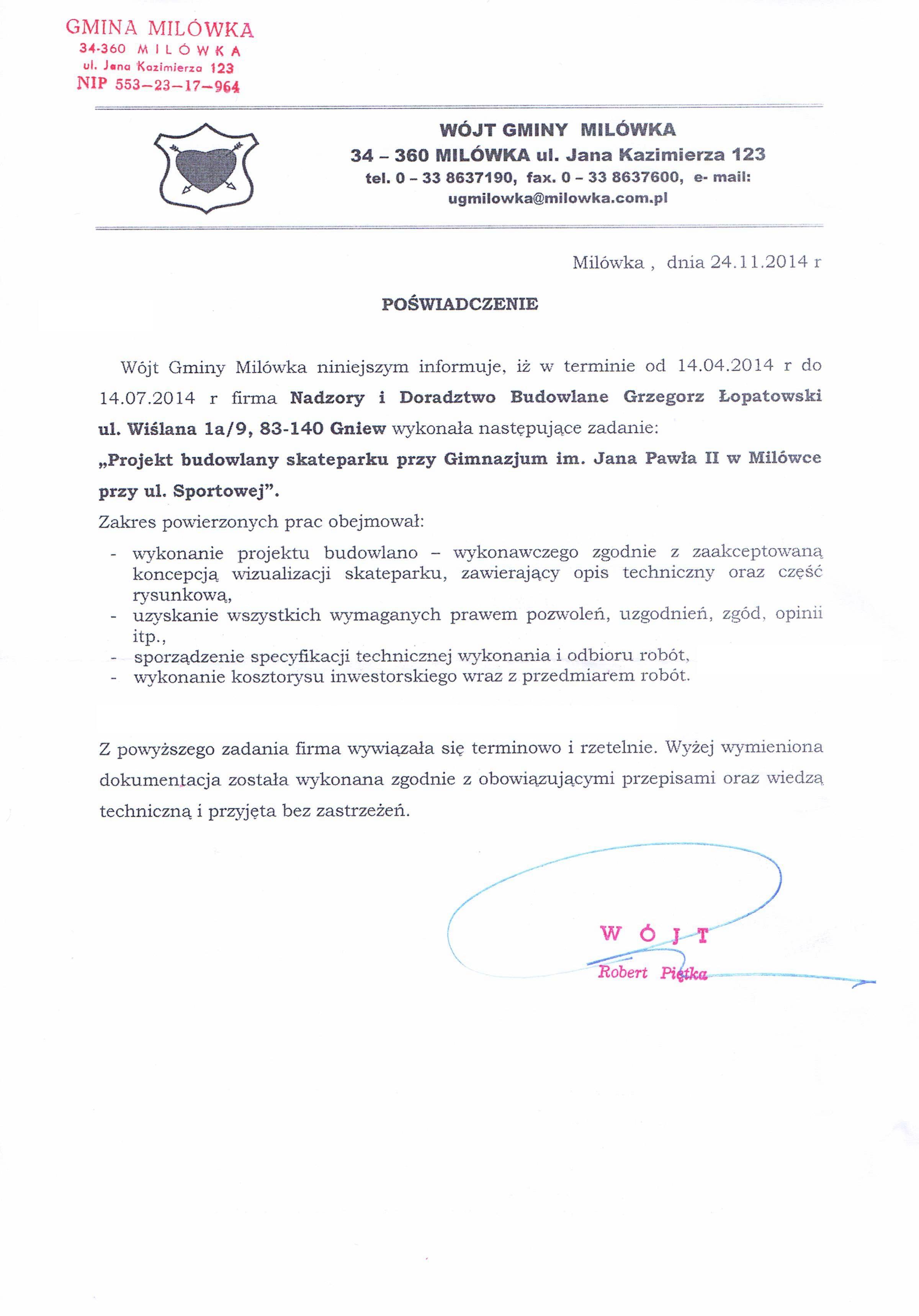 2014 11 Referencje - UG Milówka - Budowa Skateparku
